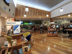 Extensive use of wood to evoke the community's connections with timber - a major local industry