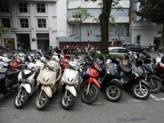 motor cycles on side walks