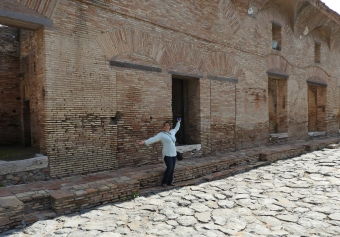 in front of the bakery in Ostia Antica
