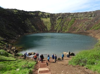 the bank of the crater lake